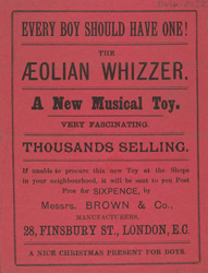Advert for the Aeolian Whizzer, toy
